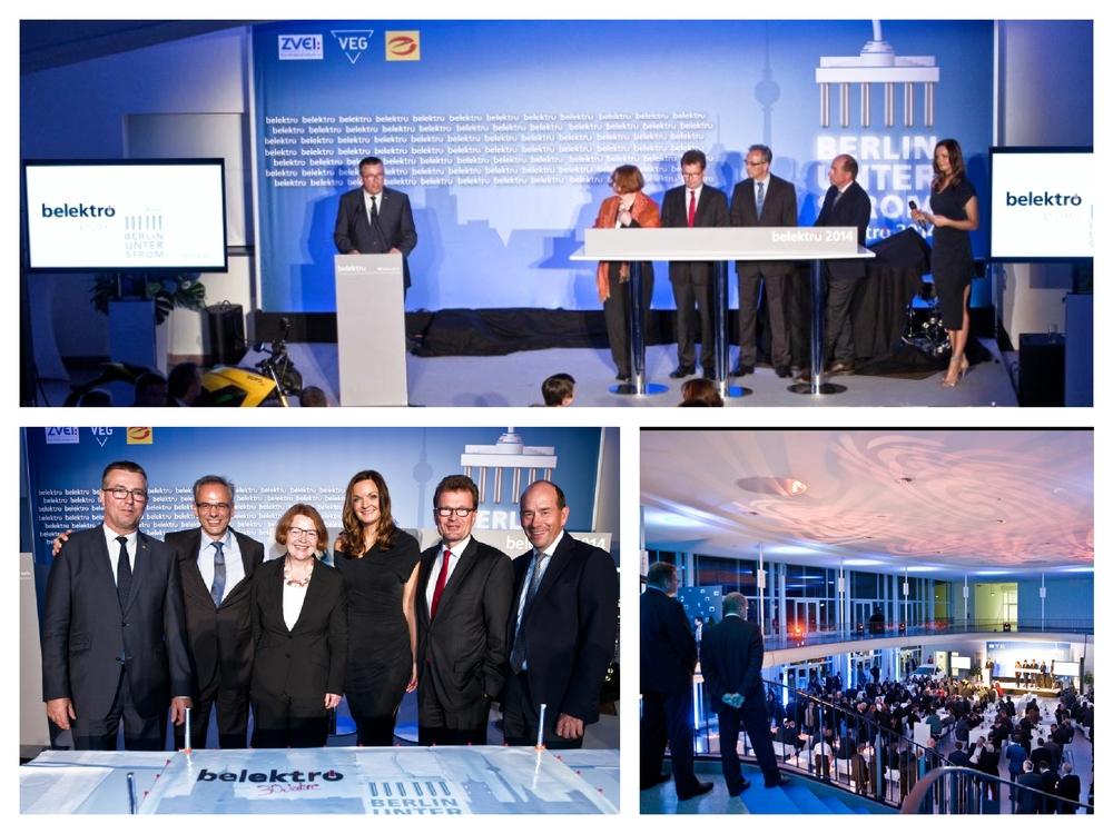 Moderatorin Iza Höll bei der Eröffnung und Jubiläumsfeier der belektro Messe in Berlin