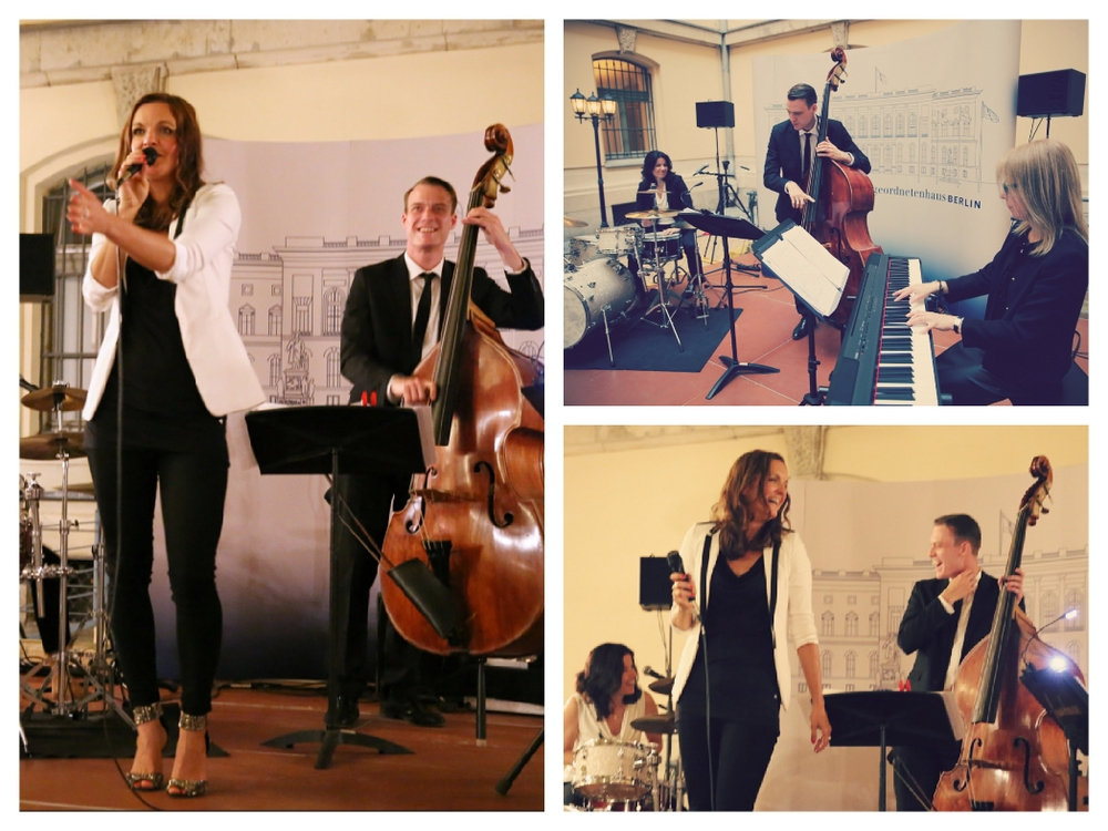 Moderatorin und Sängerin Iza Höll mit dem Jazz Quartett Fourluxe im Abgeordnetenhaus Berlin