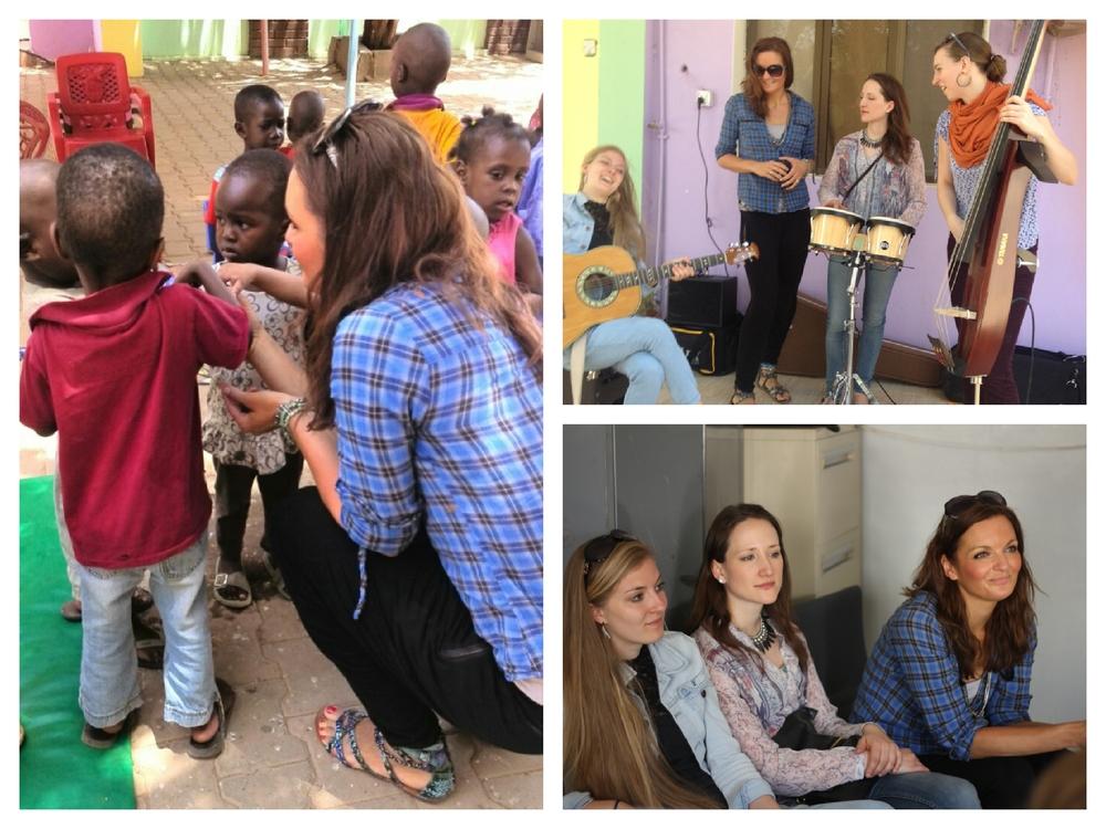 Moderatorin und Sängerin Iza Höll mit der Frauenband Sunset Orange im Mygoma Waisenhaus