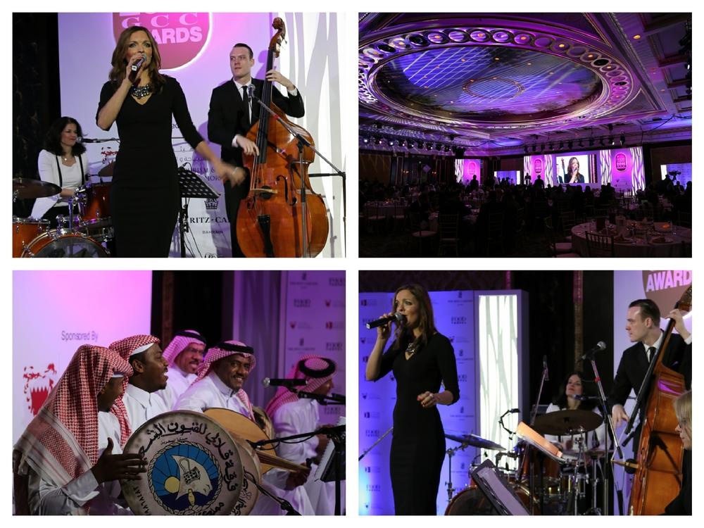 Moderatorin und Sängerin Iza Höll mit der Berliner Jazz Band Fourluxe bei den Food and Travel Awards im Ritz Carlton Bahrain