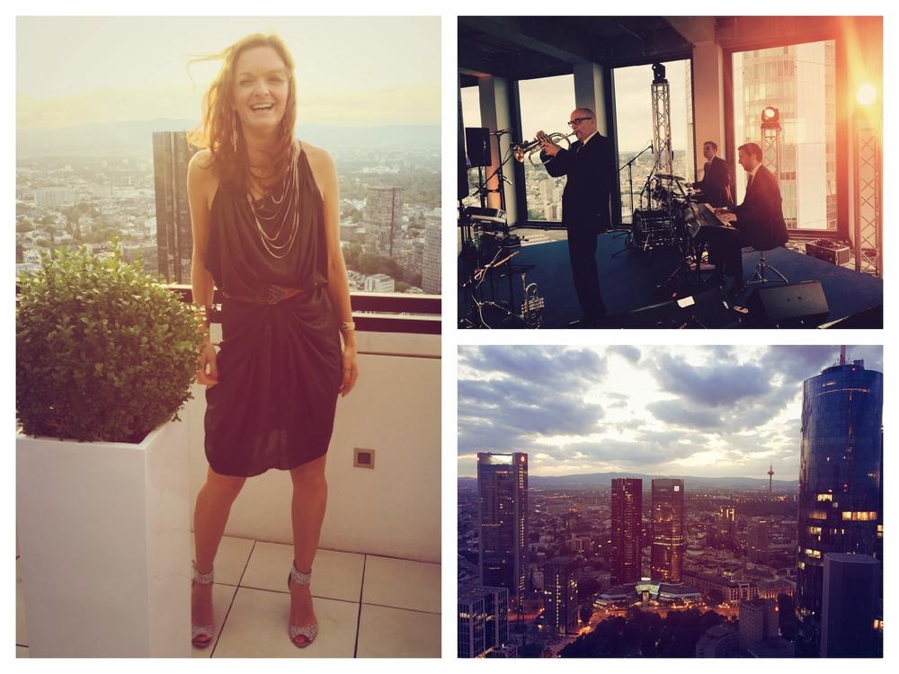 Sängerin und Moderatorin Iza Höll mit Live Lounge Band im Taunus Tower Frankfurt