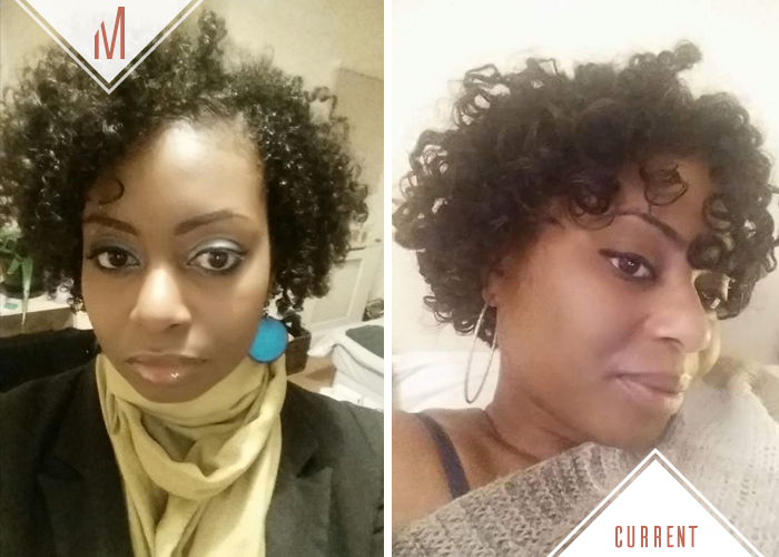Nadine - Left: Wash n Go / Right: Twist out with perm rods