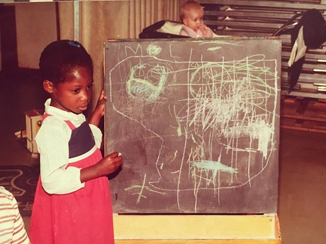 When my love for art started 😍 . . Move over Picasso 🎨 . #art #childhood #leicestergirl #drawing #chalkboard #moveoverpicasso #graphicdesign #graphicdesigner #creativity #blackart #blackgirlsrock #blackgirlmagic #naturalhair #afrohair #shorthairdontcare #fashion #colourblock #dress #80sfashion