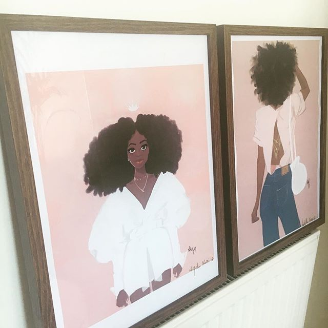 Finally found the frames that I like for these awesome paintings by @maisonnichollekobi . . My next challenge is choosing the right wall for these bad boys 👀 . . #art #design #paintings #blackart #illustration #blackbeauty #blackwomen #blackwoman #afrohair #blackhair #style #fashion #nichollekobi #maisonnichollekobi