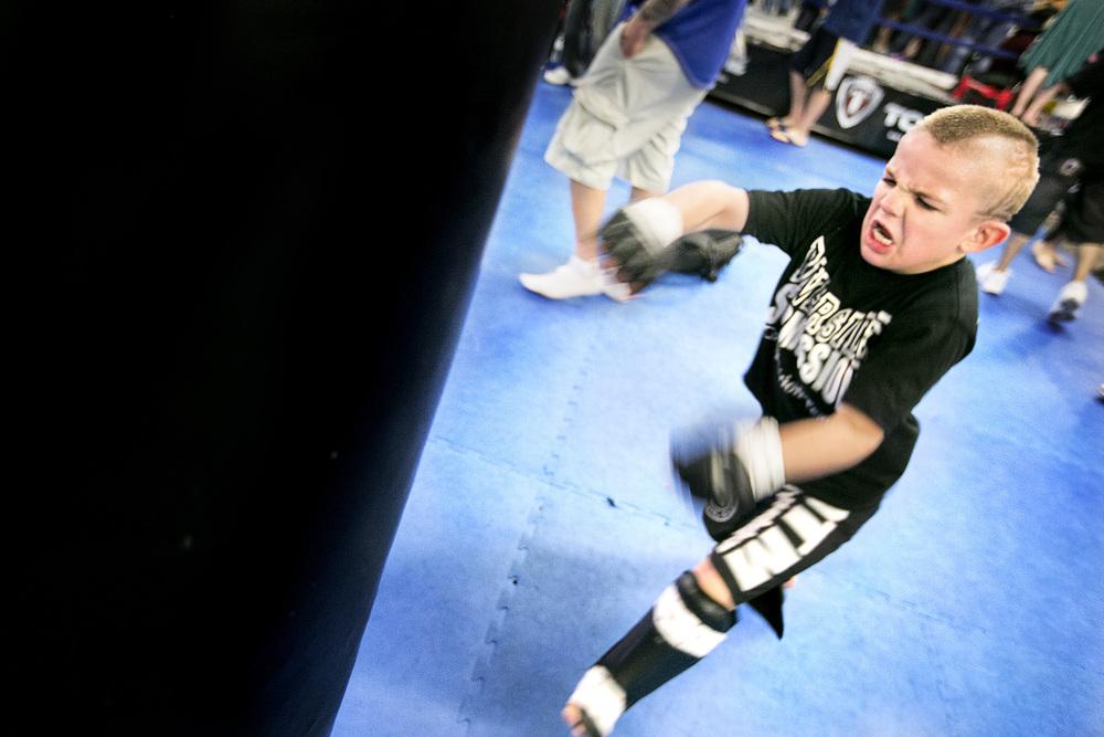 "Mason ""The Beast"" Bramlette (7yo) training before a fight. Sacramento ,California. United States. April 13, 2013."