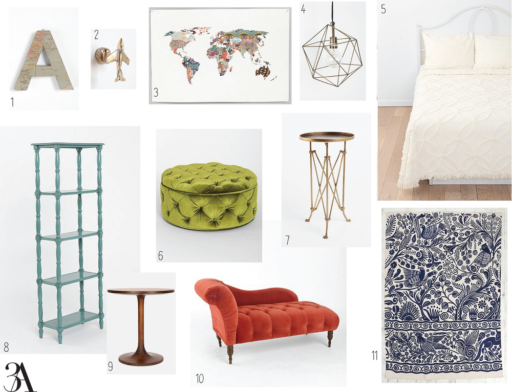 1. Around the World Letter 2 for $20 // 2. Airplane Hook 2 for $20 // 3. Louis Armstrong Told Us So Art Print $24 // 4. Geo Pendant $69 // 5. Circle Chain Chenille Coverlet $79-$89 // 6. Ava Large Storage Ottoman $249 // 7. Metal Accordion Side Table in Brass $78 // 8. Margot Tall Spindle Bookcase in Turquoise $169 // 9. Turner Side Table $210 // 10. Edie Velvet Chaise in Mango $649 // 11. 5x7 Batik Bird Rug $89