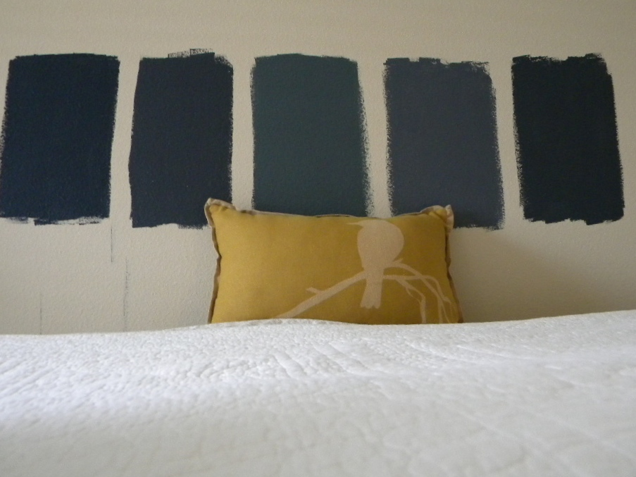 From left to right: Valspar Pitch Cobalt; Benjamin Moore Blue Note; Benjamin Moore Nocturnal Gray; Valspar Griffin Gray; Valspar Night View
