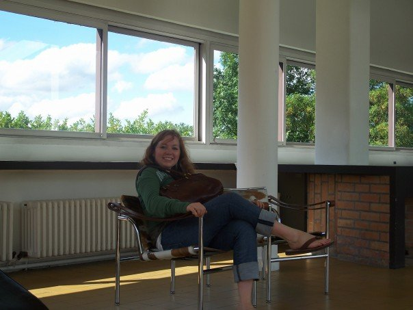 This is me sitting in one at Le Corbusier's Villa Savoye, outside of Paris.