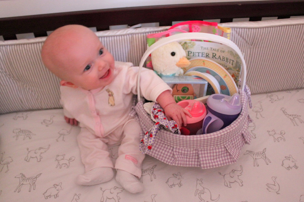My sweet girl on her first Easter morning.  Special thanks to her cousin Colson for sharing his bed :)