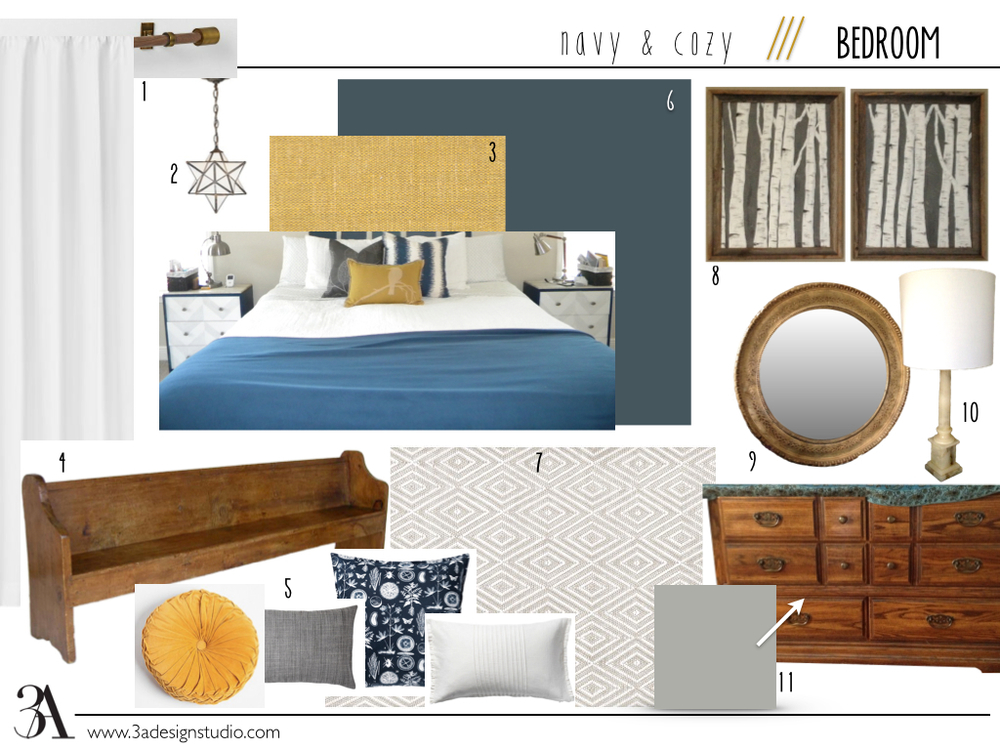 1. modern wood and metal curtain rods (this one is from West Elm, but I'm planning a less expensive similar DIY); standard white cotton draperies // 2. star pendant (already have) // 3. DIY yellow ochre linen headboard (I have the materials--I just have to find the time to do it) // 4. old church pew I'm hoping to find for a decent price around town--I see them everywhere but they're always overpriced // 5. miscellaneous throw pillows to soften up the pew (I'm also considering a bench cushion) // 6. wall paint: valspar for ace, mountain midnight // 7. light, neutral rug; this one is a Dash & Albert from  wayfair  // 8. two contemporary paintings framed in aged oak (already have and done by yours truly) // 9. an antiqued round gold mirror (already have) // 10. antique marble column lamp (already have) // 11. run-of-the-mill old dresser that was my husband's, painted in valspar's coastal jetty; I may also paint/replace the hardware