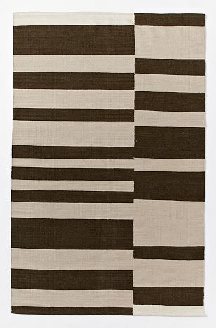 Offset Stripe Wool Dhurrie in Sable - 8x10 $219.99