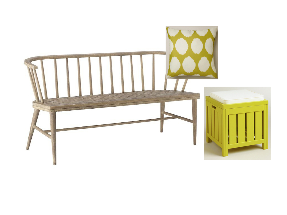 Dexter Bench  from West Elm (just used on a project--we love it!);  Apple Green Storage Stool  from World Market; Green and White Dotted  Ikat Pillow  from World Market