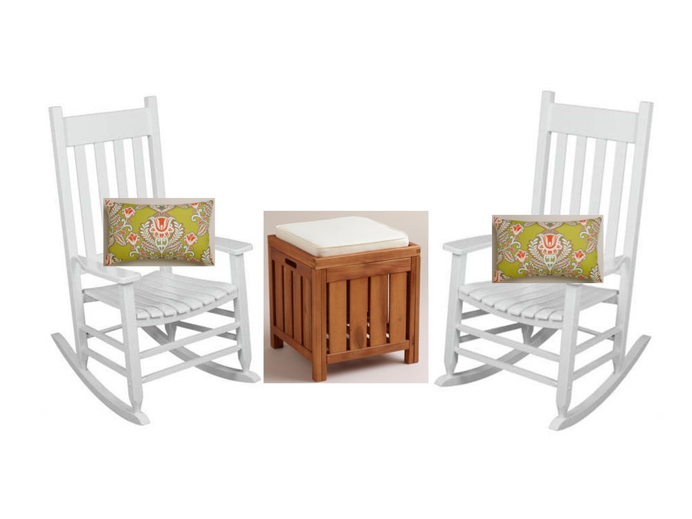 White rocking chairs from pretty much anywhere; Summer Goddess Outdoor  Lumbar Pillow  from World Market;  Wood Storage Stool  from World Market