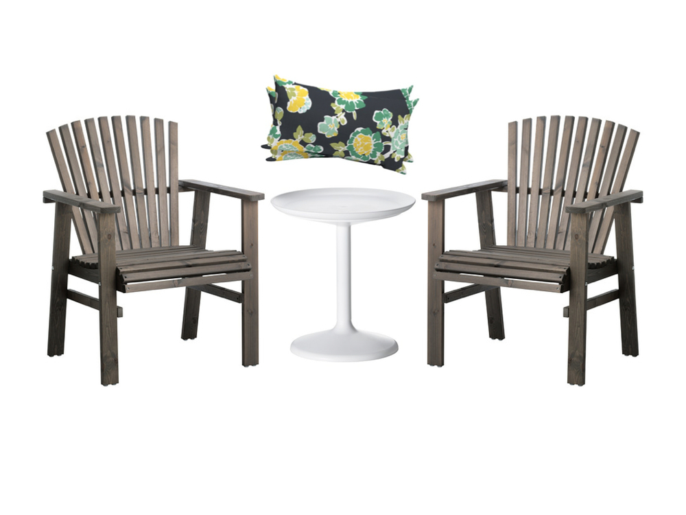 Sundero Arm Chairs  from Ikea;  PS Sandskar Table  from Ikea; Tossed Floral Green/Yellow  Lumbar Pillow Set  from Target