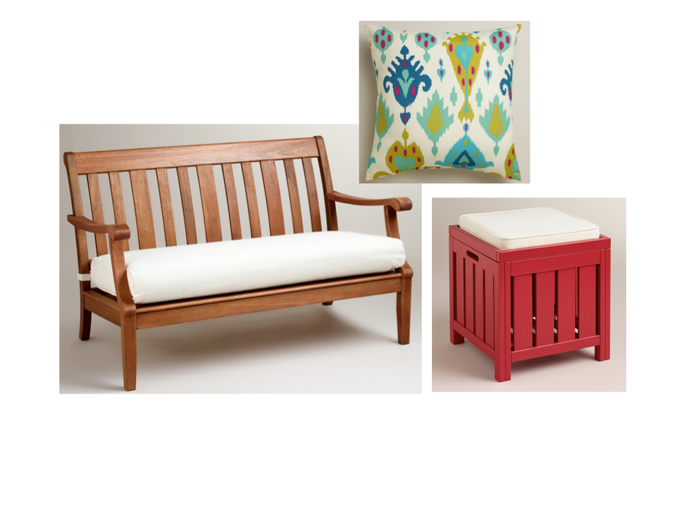 St. Martin Occasional Bench  from World Market;  Aqua Aberdeen Throw Pillow  from World Market; Pompeian Red  Storage Stool  from World Market