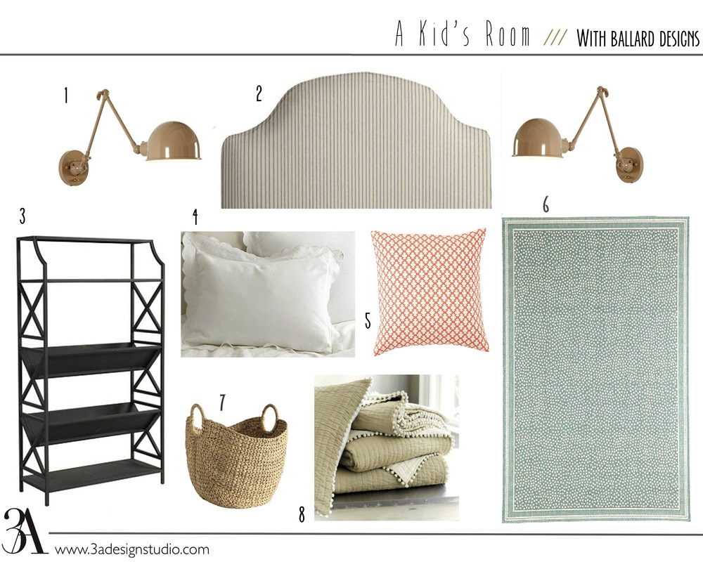 kids bedroom mood board with ballard designs