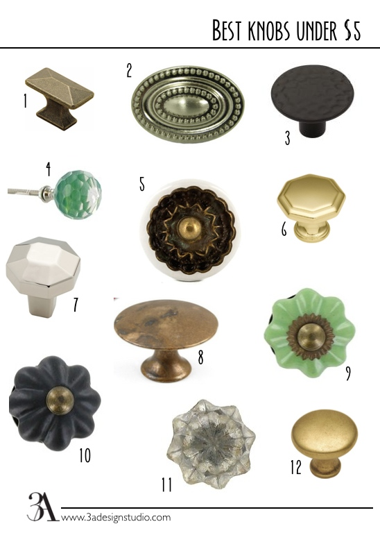 1. Hickory Hardware Rectangular Cabinet Knob in Antique Brass from Lowes: $4.81 // 2. Stone Mill Hardware Ashton Knob in Satin Nickel from Overstock: $13.39 for 5 // 3. Liberty Hardware Black Round Knob from Home Depot: $0.98 // 4. Turquoise Round Glass Knob from Hobby Lobby: $4.99 // 5. White Ceramic Knob with Gold Metal Top from Hobby Lobby: $3.99 // 6. Hickory Hardware Conquest Brass Octangular Knob from Lowes: $2.52 //  7. Brainerd Serafina Chrome Octangular Knob from Lowes: $3.97 // 8. Classic Hardware Distressed Antique Brass Flat Top Knob from Vandykes: $2.66 // 9. Light Green Ceramic Scallop Knob from Hobby Lobby: $3.99 // 10. Flat Black Ceramic Scallop Knob from Hobby Lobby: $3.99 // 11. Antique Brown Glass Knob from Hobby Lobby: $4.99 // 12. Hickory Hardware Round Cabinet Knob in Antique Brass: $2.84