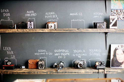 vintage camera wall photographed by Shawn Hoke, image via  Mint Design Blog