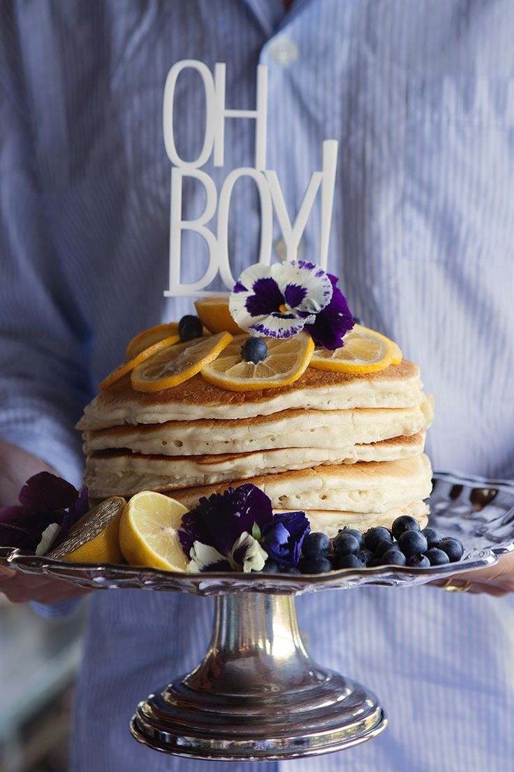 "I love the idea of a brunch gathering or shower.  Especially one that involved a pancake ""cake"" like this one featured on  Camille Styles ."