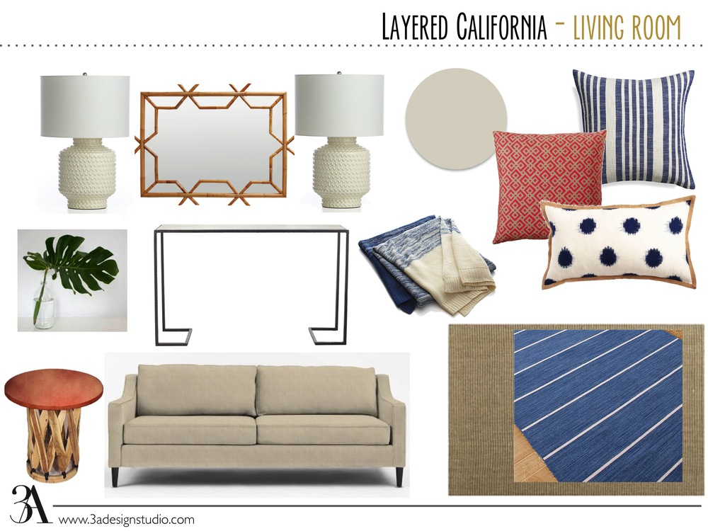 layered eclectic california living room mood board e-design 3adesignstudio