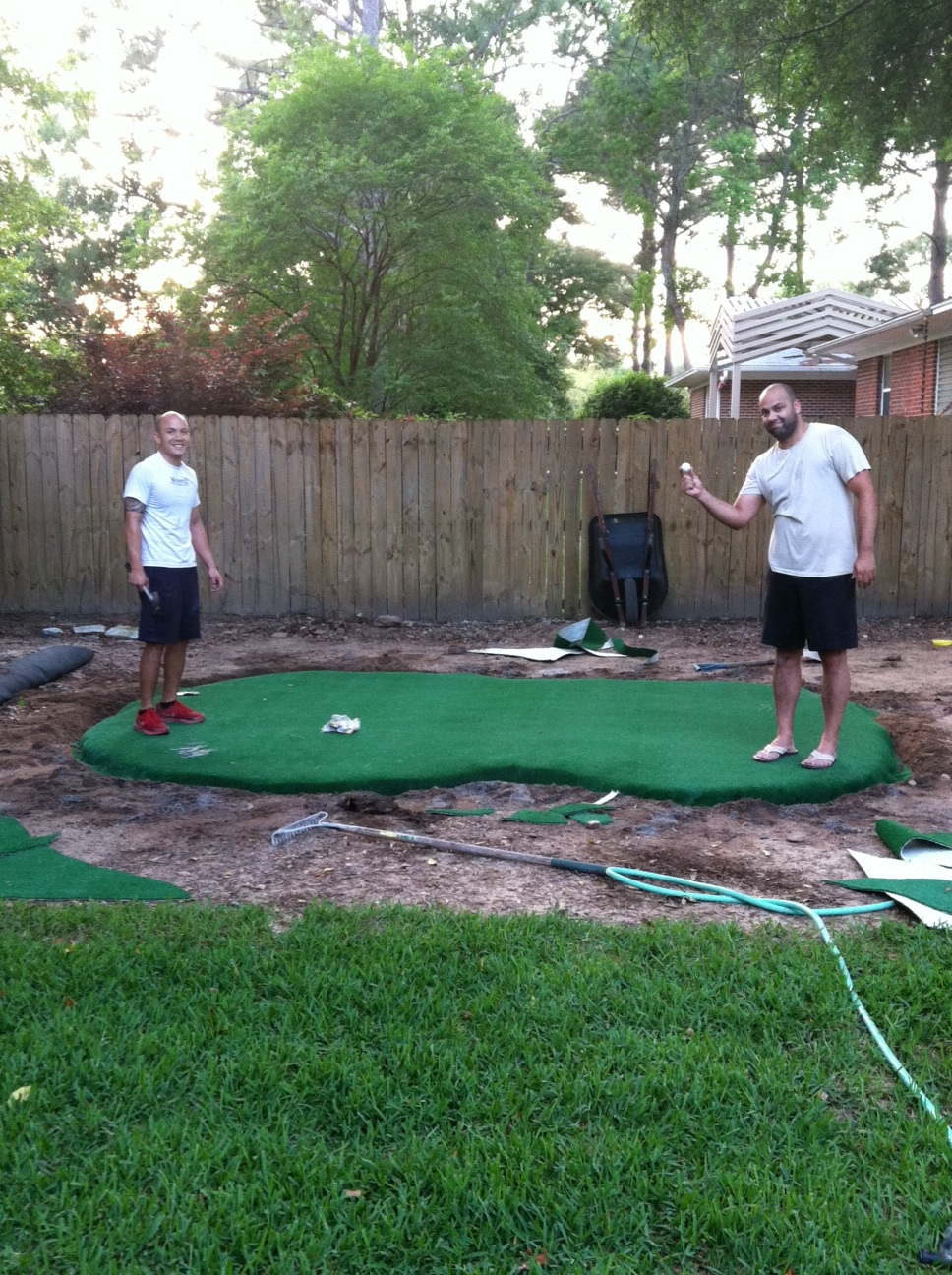 Captivating My Golf Loving Hubby And My Brother Installed A Small Putting Green Where  The Playground Used To Be. If You Are Interested In Creating One, These Are  The ...