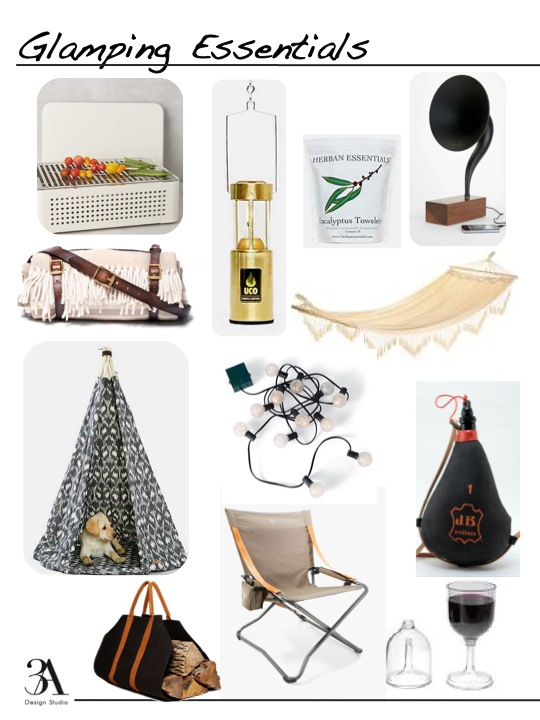 grill // blanket carrier // dog tent // wood carrier // brass lantern // battery operated bistro lights // chair // towelettes // gramophone // hammock // wine bota // wine glass