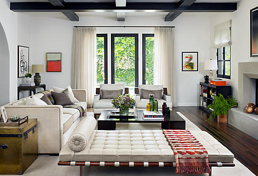 White meets modern in this contemporary living room.