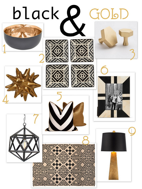black and gold home decor products
