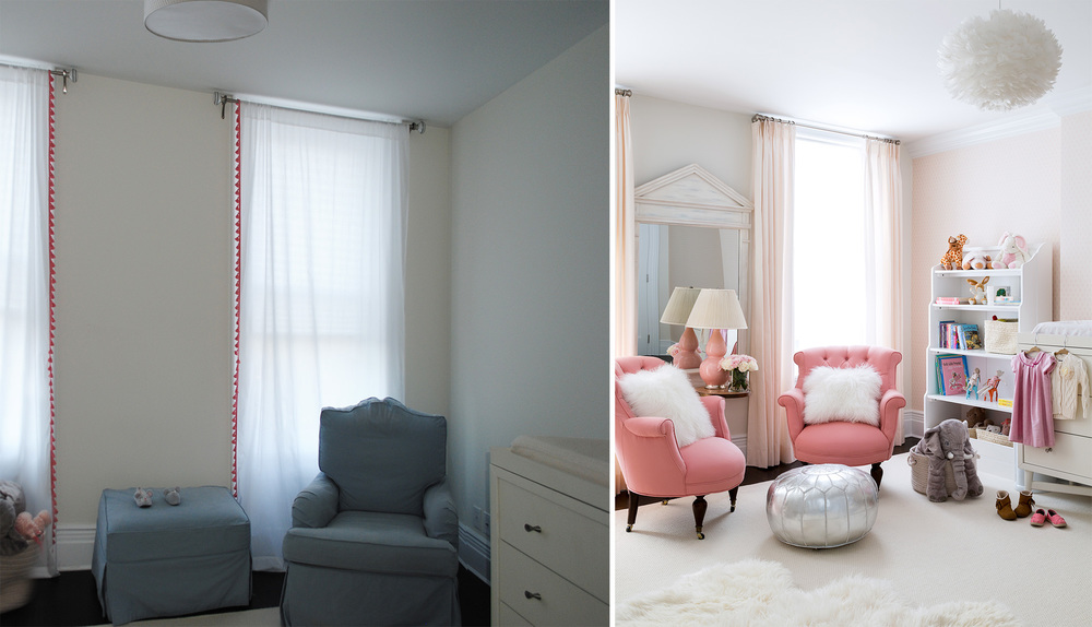 Last but not least is this adorable nursery.  Look at how different the windows look when they have the right window treatments!