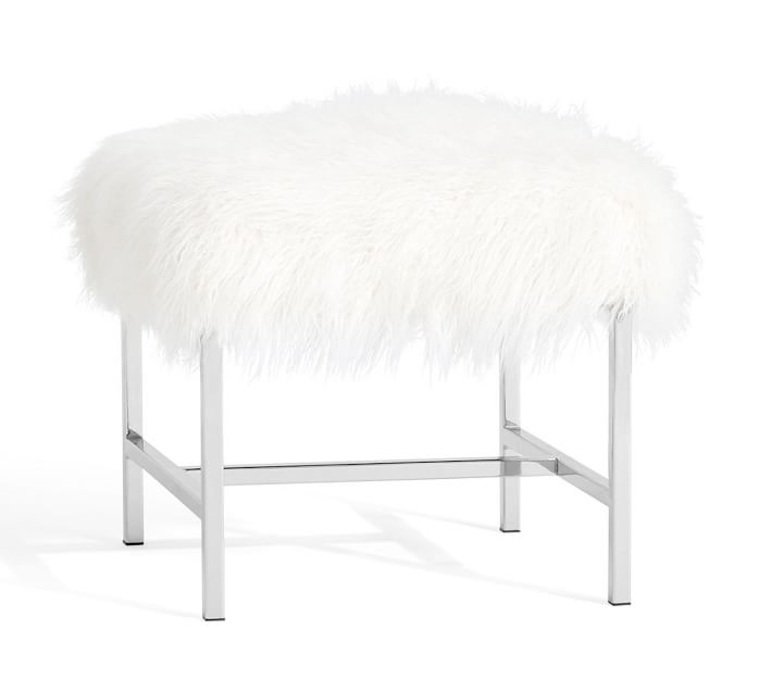 Tavi Mongolian Fur Stool-  Pottery Barn  $199