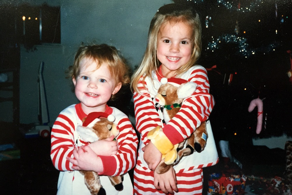Me (left) and my sister in our matching PJs.
