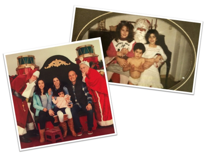 It took all of us to get Amelia to take a picture with Santa. Pic on the right is of my brother and I with a family friend and Santa one Christmas Eve (my brother's nickname when he was little was The Barbarian; hence the lack of clothes).