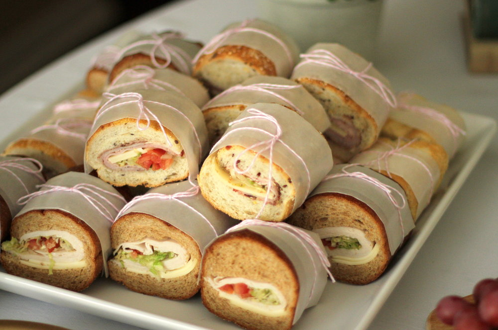 styled sub sandwiches with bakers twine