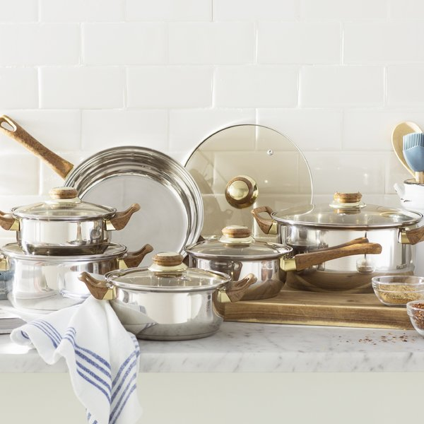 Stainless and wood pot and pan set