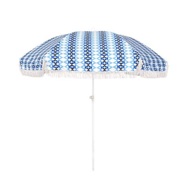 Blue print beach umbrella