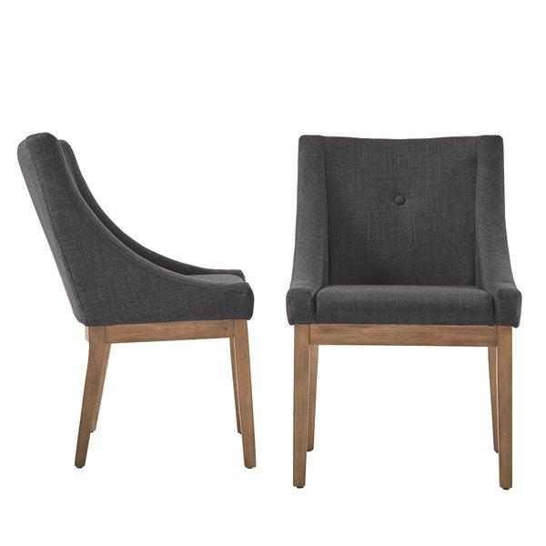Gray linen dining chair set