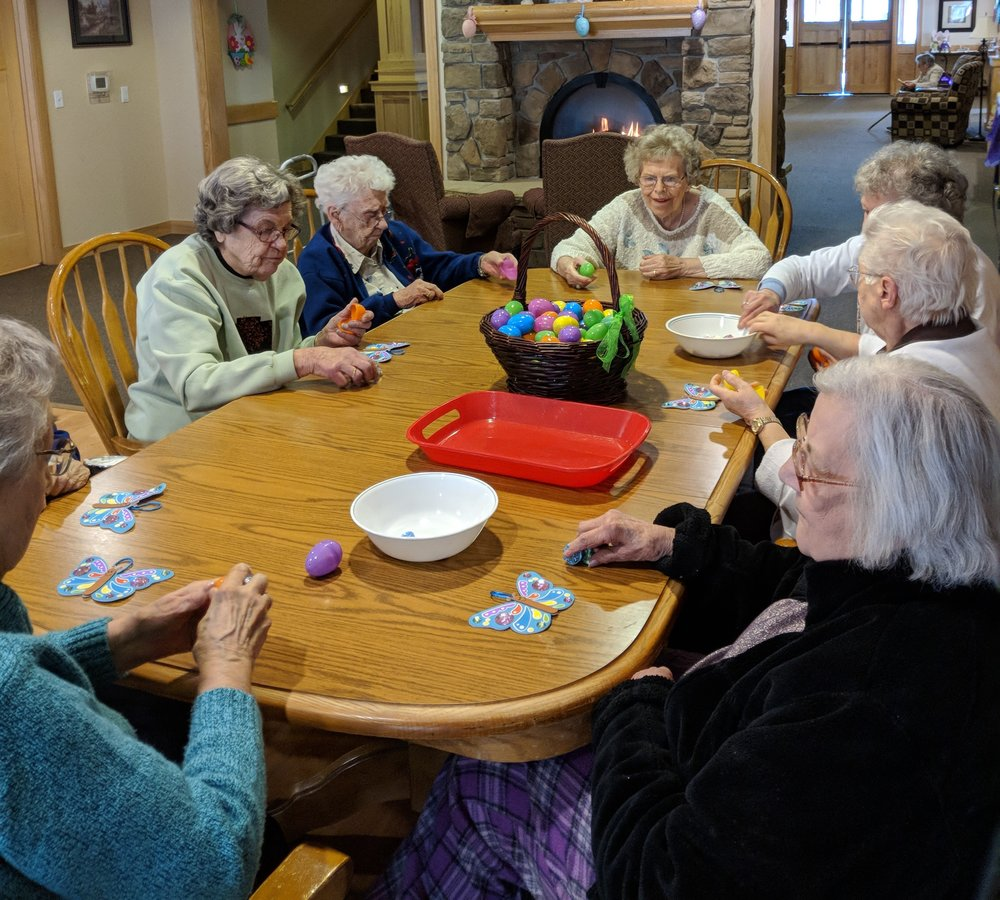 Tenants are busy filling Easter eggs 2.jpg