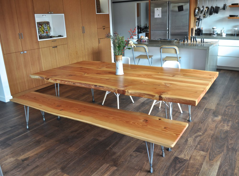 One Of Matthewu0027s Recent Furniture Commissions. Urban Salvaged Douglas Fir  Slabs From Portland With Live Edges. Custom Made Steel Legs.