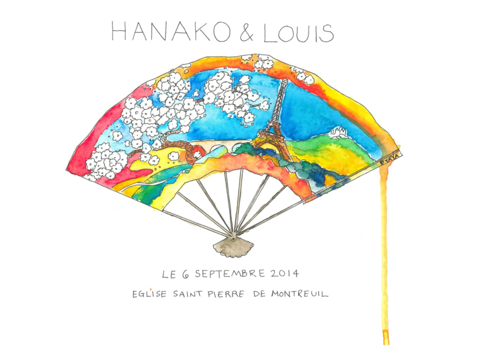 Hanako & Louis are a Japanese Couple who wanted a secular livret de messe that would highlight both of their cultures.  Image reproduced on invitations, seating, memorabilia.