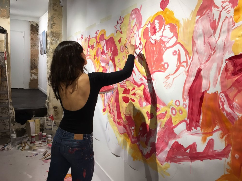 Live painting performance for Moet Chandon's Rosé Champagne  4 m x 2 m wall  Issue Galerie 28 rue de Quincampoix 75002 Paris