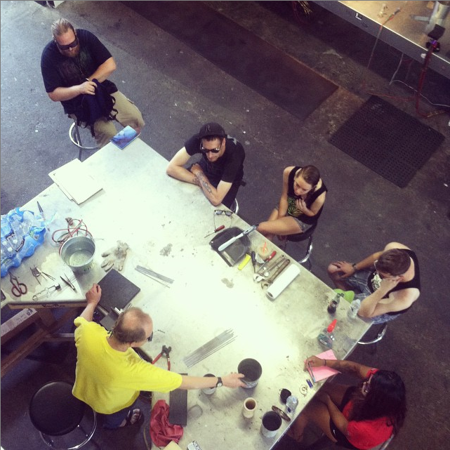 Bandhu Dunham sharing his expert lampworking knowledge with his Structural Construction class (Friday 6/26 - Sunday 6/28)