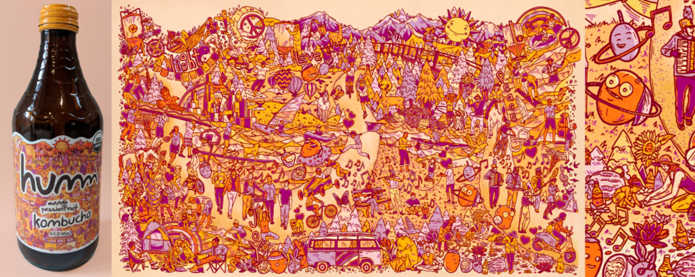 Humm Kombucha/Mango Passionfruit label art