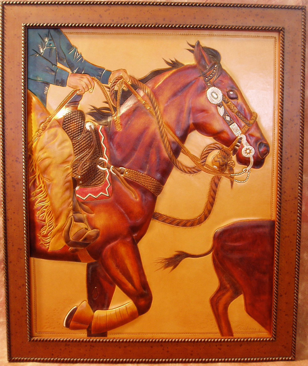 """The Two Reiner""      24' x 40""        $5500         Mixed media on leather       *SOLD*"