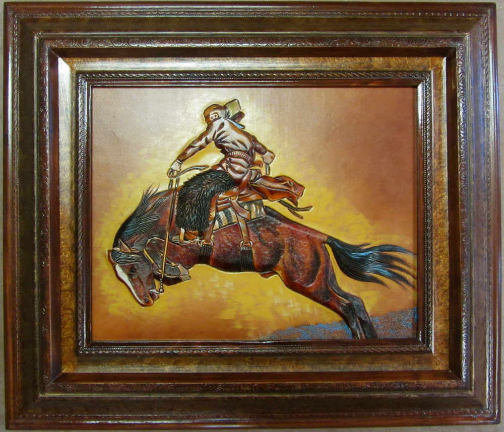 "Remington study #1        11"" X 14""         $14      Mixed media on leather   *SOLD*   at the Booth Western Art Museum"