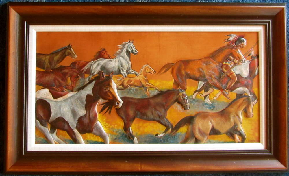 """Game On""              20"" X 40""                 $7200                      Oil on leather               *SOLD*  Zoom into the central horse with the halter to see the storyline. This horse is wearing a US military halter .... ENJOY !"