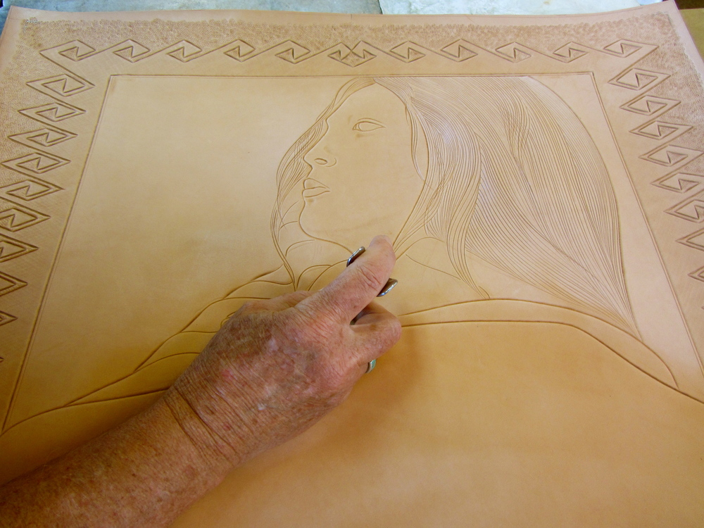 "The start is carving the leather ""canvas"""
