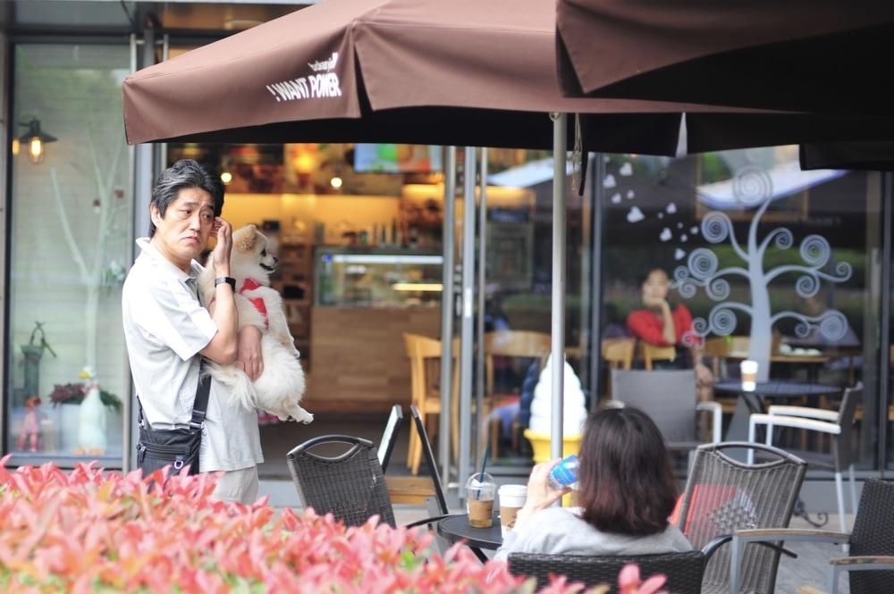An old man having a coffee date with his best friend outside Jiangwan Stadium.  老人跟他的最好的朋友一起去江湾体育馆的咖啡馆。