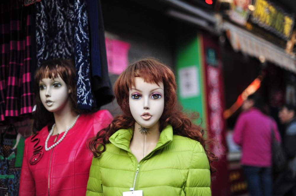 Freaky mannequins line the streets showing off their winter wears.