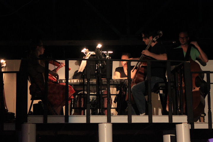 "The on-stage orchestra playing during a performance of ""The Light in the Piazza"" at the Starlight Theater."
