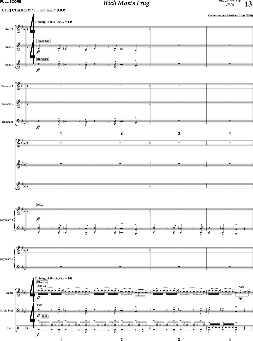 "A page of the new conductor's score for ""Sweet Charity"""